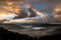 Image of a winding valley full of fog in the Mountains of Jerusalem by photographer Tom Shapira