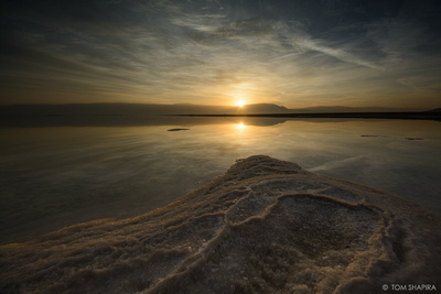 Image of sunrise over the Dead Sea in Israel by photographer Tom Shapira