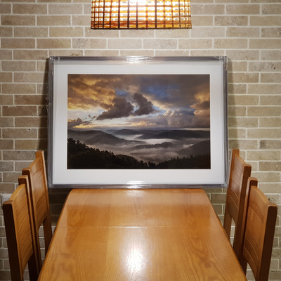 An example for a photographic print on Luster paper, framed with white borders around the image.