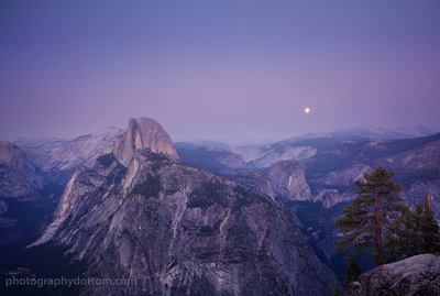 Half Dome and Moon from Glacier Point
